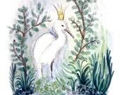 SMALL 4x5 Egret Princess Art Postcard