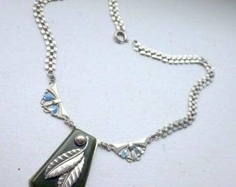 Deco Faux Jade/Bakelite - Chrome Necklace - Enamel Design.