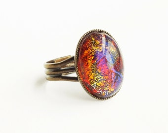 Dragons Breath Opal Ring Vintage Mexican Opal Harlequin Fire Opal Red Iridescent Glass Statement Ring
