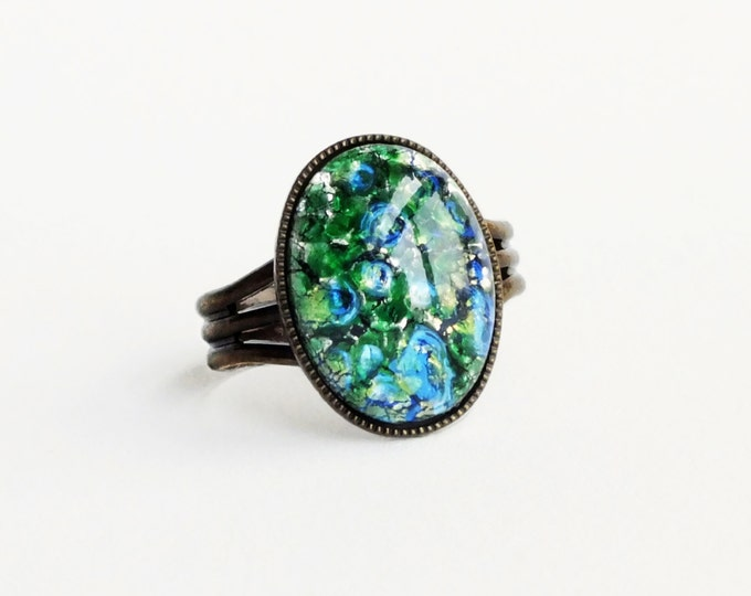 Green Opal Ring Emerald Ring Green Glass Ring Iridescent Green Ring Fire Opal Adjustable Antique Brass
