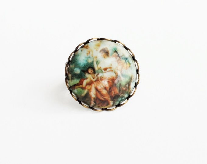 Angel Cameo Ring Vintage Cherub Jewelry Adjustable Brass Ring Victorian Jewelry Oil Painting Fine Art Jewelery