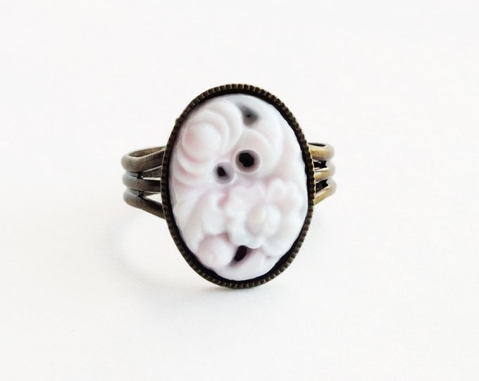 Pink Glass Ring Vintage Carved Glass Light Pink White Ring Antique Brass Adjustable Pastel Jewelry