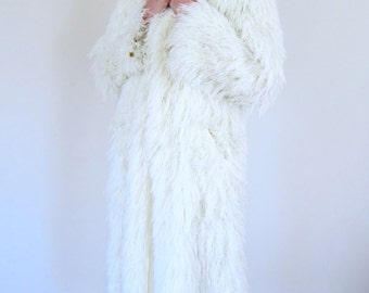 Long Warm Glam Faux Fur 70's Coat