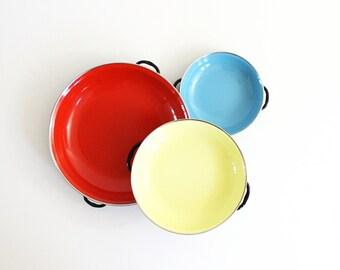 Colorful Vintage Enamel Paella Pans / Mid Century Enamel Cookware