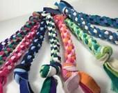 colorful upcycled tshirt dog rope toy large