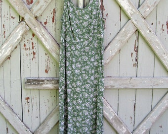 vintage 1990s green floral rayon dress  S M
