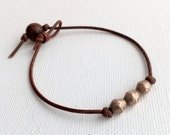 Rustic Brown Leather Bracelet / Anklet.  African Coin Silver and Antiqued Leather.