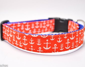 Orange Anchor Dog Collar / Nautical Collar / Beach Dog Collar / Custom