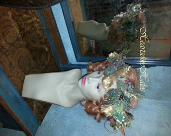 Head wreath crown Old World Santa holiday Christmas King OOAK berries green  holly