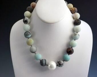 Amazonite and Pearl Necklace   Matte Amazonite Necklace   Mother of Pearl Necklace   Hand Knotted Necklace