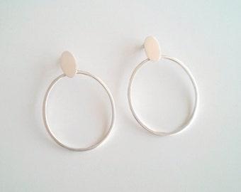 Oval Studs Oval Hoop Earrings, Gift for her, Sterling silver post and hoop earrings, Statement hoop earrings, Minimalist studs, gift women