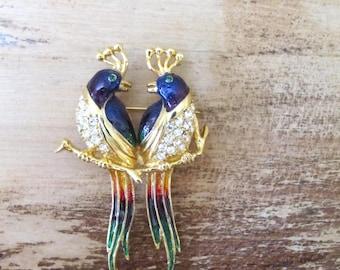 double peacock rhinestone enamel brooch pin