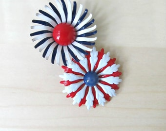 red white blue mod daisy pins enamel flower brooch