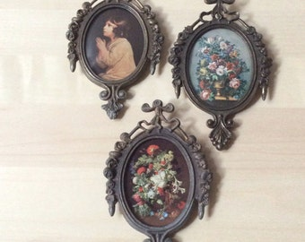 ornate oval metal frame made in Italy botanical floral bouquet portrait blue boy pinkie