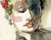 Reserved for L - Giclee Print, Olive Green, Red and Green, Watercolor Print, Watercolor Portrait, Female Portrait, Wall Art, Free Shipping