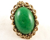 Semi Adjustable Size 5.5 Large Vintage Organic Goldtone and Green Art Glass Ring