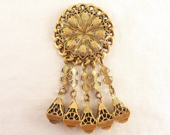 Large Round Antique Gold Tone Filigree Brooch with Five Dangles