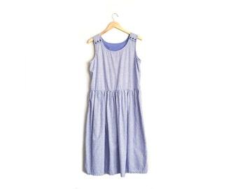 Vintage Purple Gingham Sleeveless Midi Dress - Cotton Spring Sundress. Size M/L.