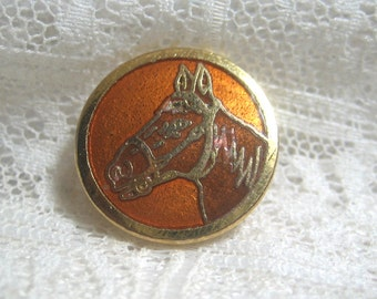 Enamel Button with Horse Head Small Size