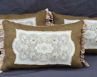 Shabby Chic Burlap Pillow with Vintage Doily and pearls