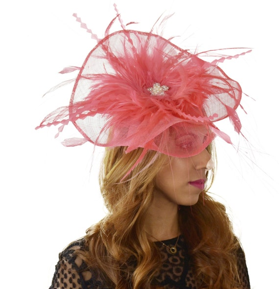Petia Large Coral Pink Fascinator Hat For Weddings Races And