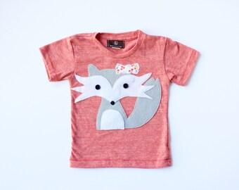 baby girl fox t-shirt, girls fox shirt, Felicity the Shy Fox, baby shower gift, modern kids' clothes, baby fox shirt, woodland creature