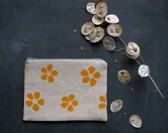 hand printed yellow petal linen zip pouch