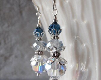 Blue Bridesmaid Earrings Blue Ombre Swarovski Crystal Dangles Beaded Wedding Jewelry Bridesmaid Gift Under 20 Blue Crystal Earrings Silver