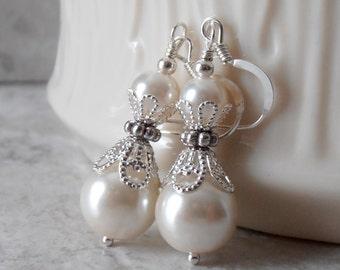 Ivory Pearl Earrings Bridesmaid Earrings Pearl Dangle Earrings Off White  Wedding Jewelry Beaded Earrings Bridal Jewelry Bridal Earings