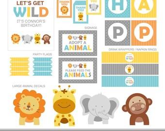 Modern Safari Party Decorations, Animals Birthday Party Decor, Modern Safari Party, Safari Birthday, Safari Animals Party Kit