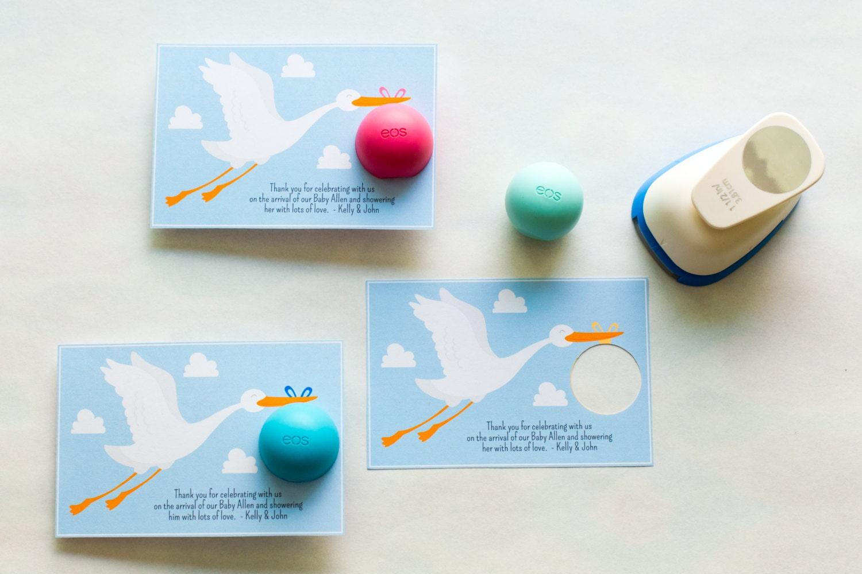 eos lip balm holder for baby shower favors stork baby shower