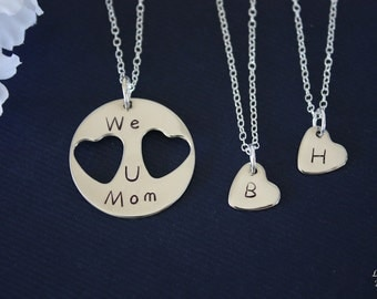 Mother and Daughters Necklace Personalized, Heart Charm, Sterling Silver Necklace, Monogram Necklace, GG, Gigi, daughter, Mothers Day Gift