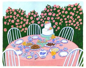 Original Art, Garden Tea Party, Large Gouache Painting