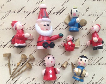 Holiday Crafters Wooden Odds and Ends, Bearded Santa, Elves and Angels, Tiny Ornaments