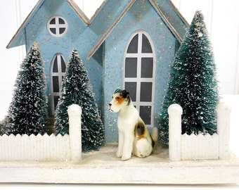 Vintage Miniature DOG | Wire Haired Fox Terrier | Porcelain Dog | Mid Century | White Brown Black | Animal Figurine | Cottage Chic Pup