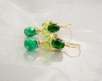 Green Angel Earrings, Dainty Earrings, Dangle Earrings, Stone Earrings, Wire Wrapped Earrings, Green Gemstone Earrings, Gift for Women