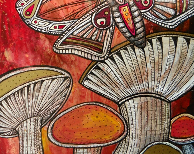 "Original ""Moth and Mushrooms"" Painting by Lynnette Shelley"