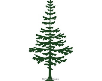 Wall Decal, Pine Tree, 10 x 18 inches, forest wall decorations, large pine tree wall decal, Christmas tree vinyl decal, woodland tree, pine