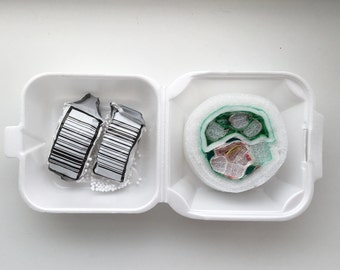 Plastishimi  Mega Roll and 2 Nigiri To Go Box, Upcycled Plastic and Foam Sushi Sculpture