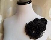 30% off sale, black flower, vintage flower, Headband, Bridal Crown, Wedding Headpiece, Dress Pin,  Fascinator, black  flower