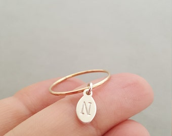 Initial Ring stacking rings thin minimalist jewelry gold ring gift for best friend