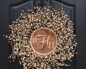 Gift for the Couple, Wooden Monogram, Wedding Decorations, Wedding Memento, Wedding Monogram, Monogram Wreath, Cream Berry Wr