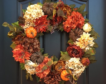 Autumn Wreaths, Fall Hydrangea Wreath, Fall Wreaths, Front Door Wreaths, Pumpkins Wreath, THANKSGIVING WREATH, Hydrangea WreathS