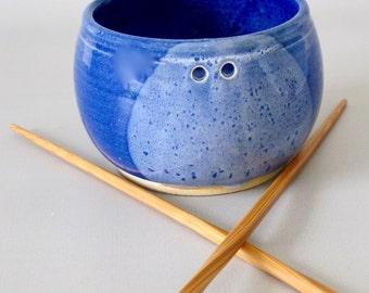 Stoneware Pottery. Small Bowl. Rice or Noodle Bowl. with Bamboo Chopsticks. Cobalt Blue/White Gloss. Delft Blue. Denim. Indigo. Snow White.