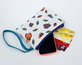 Little bird zippered pouch, wristlet or coin purse