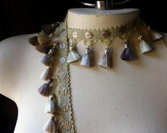 "18"" Mini Tassel Trim  in Gold & Plum  for Tribal Fusion, Belly Dance Costumes, Home Decor"