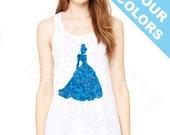 Cinderella Shirt. Cinderella tank. Cinderella glitter shirt. Disney Glitter tank.