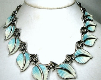 Something Blue and White Leaves Necklace, Linked Painted Choker, Art Deco Mid Century Modernist, Adjustable Length
