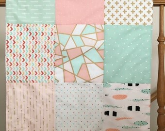 Arrow Minky Patchwork Blanket -- Baby Girl Pink Mint Gold