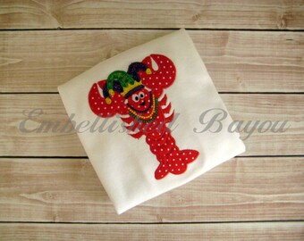 Mardi Gras Crawfish with Jester Hat and Beads Applique T-shirt or Onesie Bodysuit for Girls or Boys Personalized
